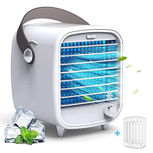 Aire Acondicionado Portátil Silencioso, CITIZILI Aire Acondicionado Móvil, Mini Enfriador de Aire, Climatizador Pequeño, Ventilador, para Hogar y Oficina