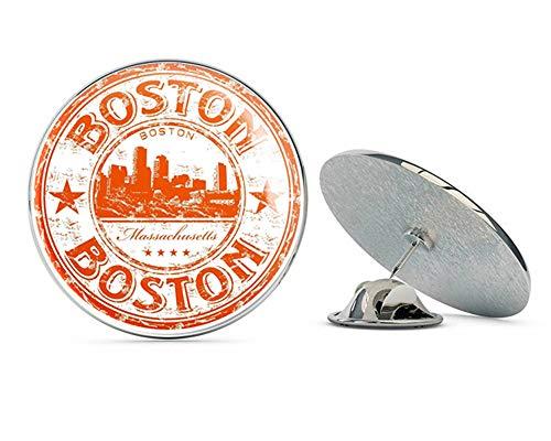 Boston Massachusetts USA Round Metal 0.75' Lapel Pin Hat Shirt Pin Tie Tack Pinback