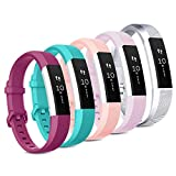 [5 Pack] Sport Bands Compatible with Fitbit Alta HR Bands and Fitbit Alta Bands Women Men, Classic Soft Silicone Replacement Wristbands Straps for Fitbit Alta HR/Fitbit Alta (5 Pack D, Small)