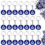 20 Piezas de Llavero de Ojo Malvado Azul Turco Llavero de Colgantes de Dije de Fabricación de Vidrio con Anillo Adorno Colgante Accesorios de Joyería Amuleto para Buena Suerte