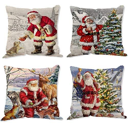 Yuson Girl - Juego de 4 fundas de almohada para sofá o sofá, funda de cojín de algodón, lino y algodón, diseño de copos de nieve, diseño de Papá Noel