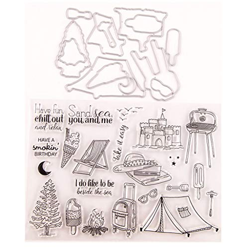 WDFVGEE Ice Cream Seal Stamp with Cutting Dies Stencil Set DIY Scrapbooking Emboss Photo Handmade by Yourself