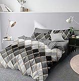 CoutureBridal - Juego de ropa de cama (200 x 220 cm, diseño de mármol, reversible, funda nórdica con cremallera y 2 fundas de almohada de 80 x 80 cm), color gris y blanco