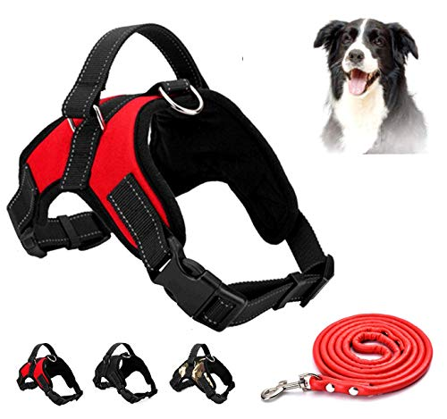 Dog Harness No Pull Pet Harness 3M Reflective Adjustable Outdoor Pet Vest for Dogs, Pet Harness for Small Medium Large Dogs With Dog Rope