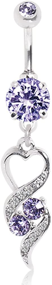 WildKlass Jewelry Gemmed Navel Ring with Elegant Heart Spiral Dangle and Tanzanite 316L Surgical Steel