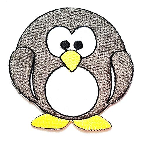 Fantastic Deal! Nipitshop Patches Gray Penguin Fat Aquatic Bird Cartoon Kids Patch Embroidered Iron ...