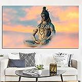 HD-Druck Indische Kunst Religiöse Buddha-Figur Shiva Lord Gemälde auf Leinwand Psychedelic Poster Modernes Wandbild für Wohnzimmer60X100