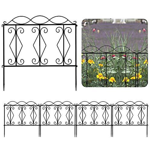 upstartech Set of 4 Garden Fencing Panels Trellis Decorative 24 * 24''/61 * 61 CM, Garden Edging Border Landscape Metal Coated Rustproof Outdoor, Black Garden Gates