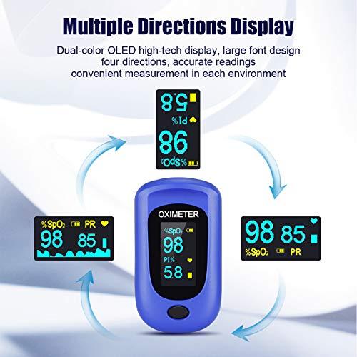 Oxímetro de Pulso, Pulsioximetro de Dedo Profesional con Pantalla OLED que Medición y Lectura Instantánea de SpO2, PR y PI Aplica para Adultos y Niños