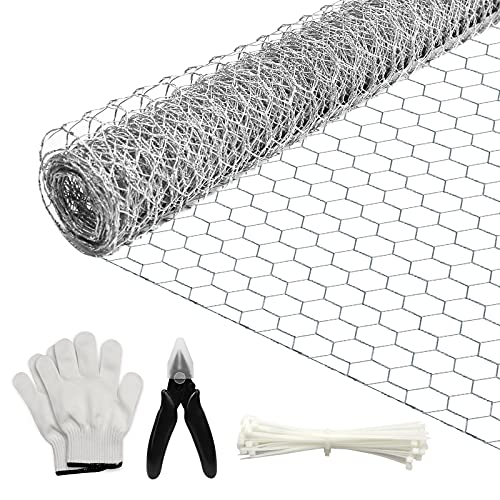 BSTWM Chicken Wire Mesh for Crafts and Gardening,Rust-Proof Galvanized Hexagonal Wire Net 15 Inches x 10 Feet x 0.6 Inch Mesh,with Pliers,Gloves and Wire Ties (10ft)