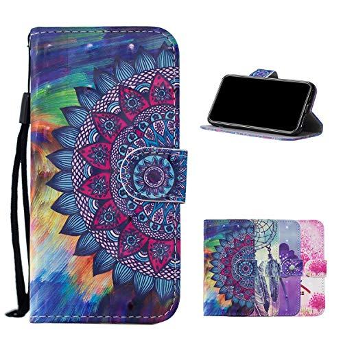 Misstars Kompatibel mit Samsung Galaxy A71 Hülle, Glitzer 3D Gemalt PU Leder Handyhülle Flip Wallet Cover Kartenfach Magnetverschluss und Standfunktion Schutzhülle, Mandala Blumen