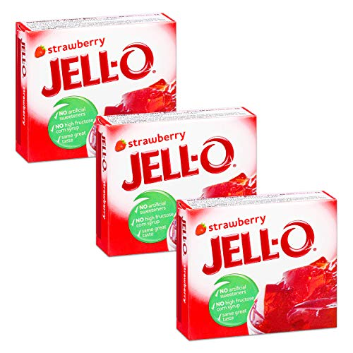 Jell-O Gelatin Dessert, Strawberry Flavor, 3-Ounce Boxes (Pack of 3)