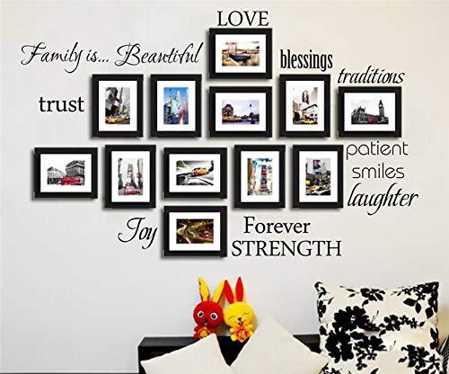 Sticker Mural Sticker Mural Pour Photo 12 Mots Amour Bénédiction Sourire Joie Pour Toujours Vinyle Sticker Photo Maison Mur Art Décoration