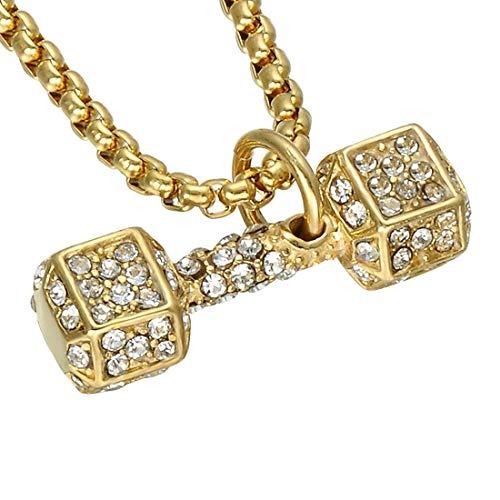 BAACHANG Titan Stahl Hantel Intarsien Kristall Halskette Sport Fitness Schmuck (Farbe : Gold)