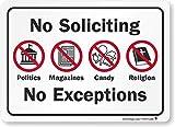 SmartSign 'No Soliciting - No Exceptions' Label | 5' x 7' Laminated Vinyl