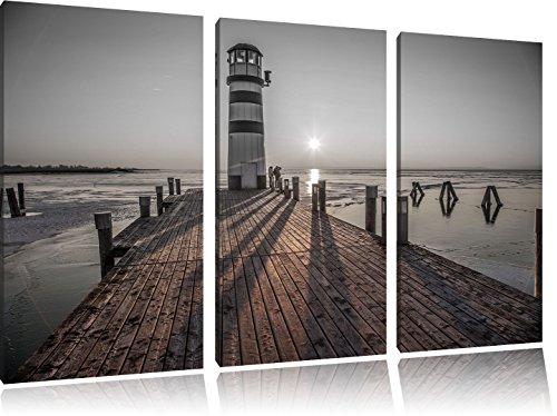 Vuurtoren bij de steigerFoto Canvas 3 deel | Maat: 120x80 cm | Wanddecoraties | Kunstdruk | Volledig gemonteerd