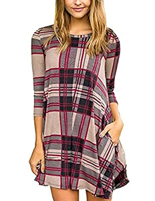 Sherosa Women's Plaid Stripe Scoop Neck Casual 3/4 Sleeve Swing T Shirt Dress With Pockets