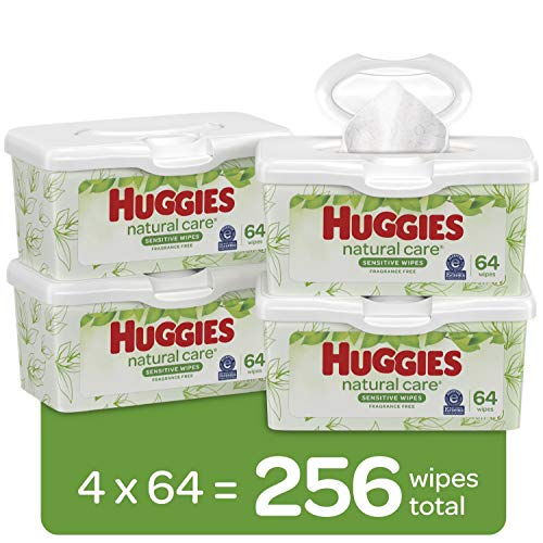 HUGGIES Natural Care Baby Wipes, 64 Wipes x Pack of 4 tubs (total 256 wipes)