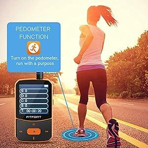 MP3 Player Bluetooth 4.1 Sport - Verlustfreier Sound FM Radio,Sprachaufzeichnung,E-Book und andere Funktionen,Unterstützt bis 128GB SD Karte (Kopfhörer,USB-Kabel im Lieferumfang Enthalten)
