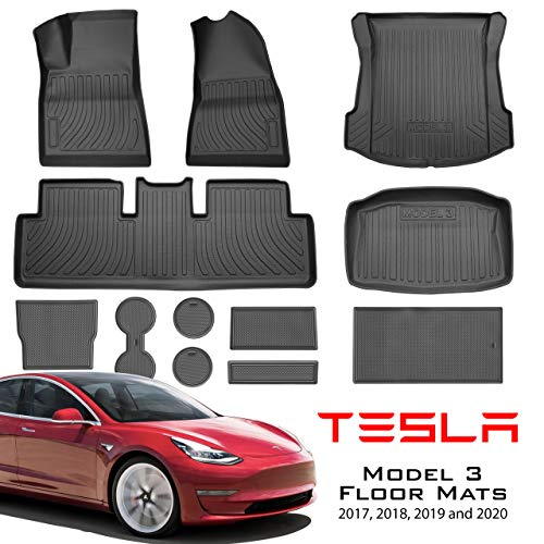 Tesla Model 3 SET (US BASE) Floor Mats Liners plus, Trunk, Cup Holder, Center Console and more in Black for Models All-Weather 4D Multi-Layer Chain Rolled Non Slip All Weather (Frunk fits 17-July2020)