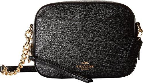 COACH Camera Bag in Polished Pebble Leather Li/Black One Size