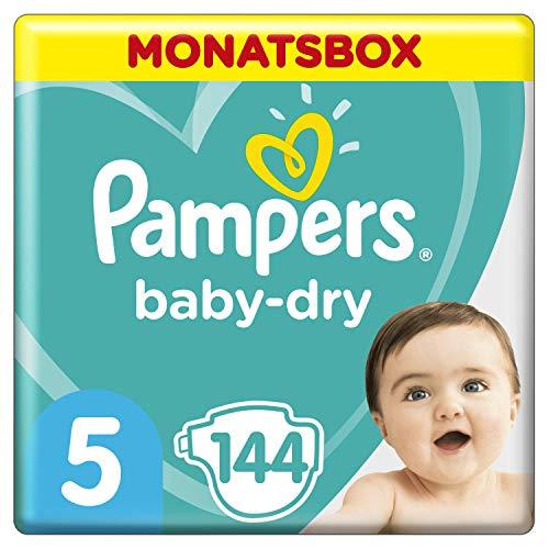 Pampers Baby-Dry Maat 5 (11-16kg), 144 Luiers, Luchtdoorlatende Banen Voor Een Droge Huid Die Kan Ademen Tijdens De Nacht, Maandbox