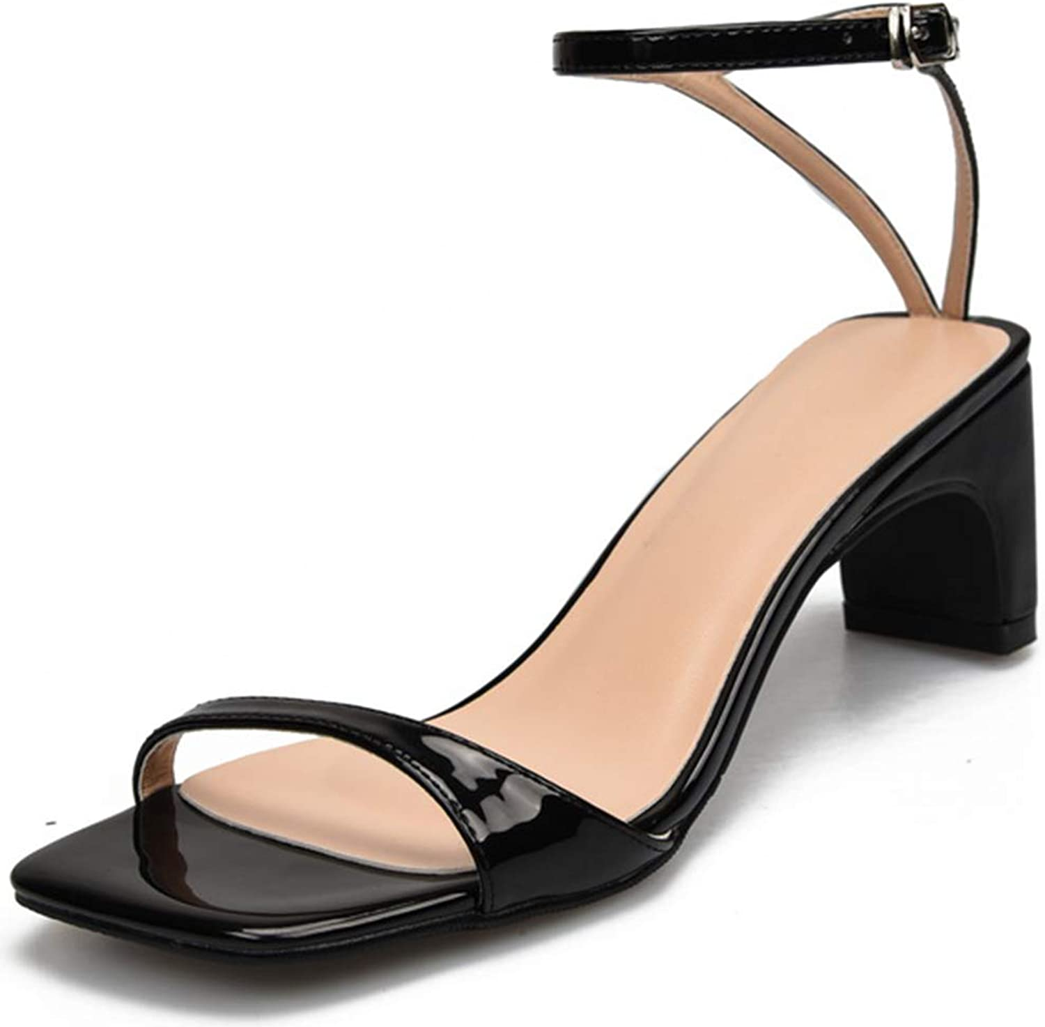 Women's Summer Large Size Chunky Sandals, 6cm Patent Leather Square Toe Pumps, Stylish Lightweight High Heel Sandals