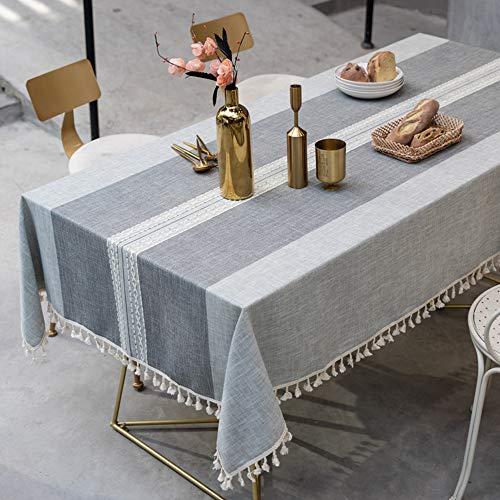 Topmail Rechteckige Tischdecke Tischwäsche abwaschbare Tischtuch aus 80% Baumwolle und 20% Leinen Geeignet für Home Küche Dekoration (Grau Rechteck, 140 x 200 cm)