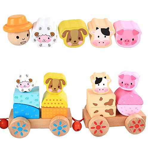 Starter Jouet train pour enfants, animaux de la ferme en bois pour enfants nouveaux train empilable petits trains à traction jouets de la petite enfance.