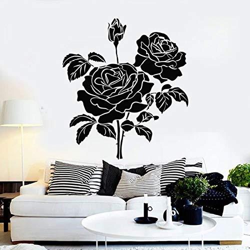 WERWN Calcomanías de Pared de Flores Bud Rose Bouquet Hermoso Papel Tapiz jardín niña Dormitorio decoración Interior del hogar Vinilo Etiqueta de la Ventana Arte