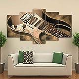 SFBBBO 5 imágenes consecutivas Pintura de la Lona Arte de la Pared Impresiones HD 5 Piezas Imágenes de Guitarra eléctrica Cartel de Instrumentos de música Vintage Decoración para Sala de Estar