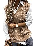 FIYOTE Strickpullover Pullover Damen Weste Strick Casual Strickweste Ärmellos Winter Weste Top Warm Baumwoll-Pullunder und Strick Tanktop S