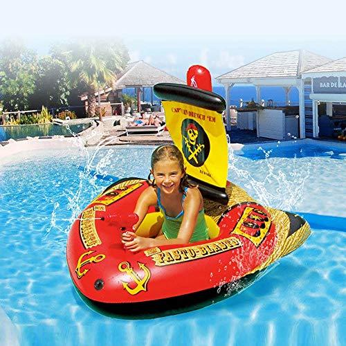 DODOBD Colchoneta Hinchable Piscina, Diversión en el Agua Diversión en el Agua Piscina en balsa Juegos acuáticos de Verano con Juguete Inflable para Montar Barco Pirata
