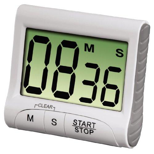 """Xavax Minuteur de cuisine """"Countdown"""" (avec minuterie et fonction chronomètre, fixation via un aimant, une pince, un support ou un support, à piles, numérique) Blanc/Gris"""