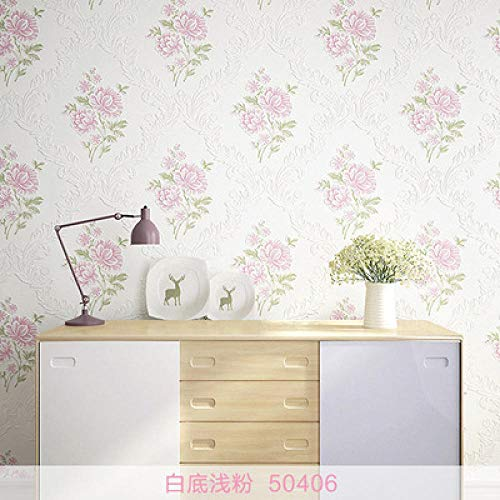 Fotobehang Wild Europese stijl idylische damast bloem wandsticker vlies slaapkamer woonkamer TV achtergrond behang bruiloft wand 1 rol White + Powder 50406