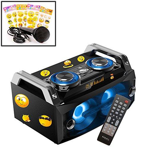 HiFi Stereo Musik Anlage tragbar LED Bluetooth USB SD MP3 Aufnahme im Set inkl. Sticker und Mikrofon