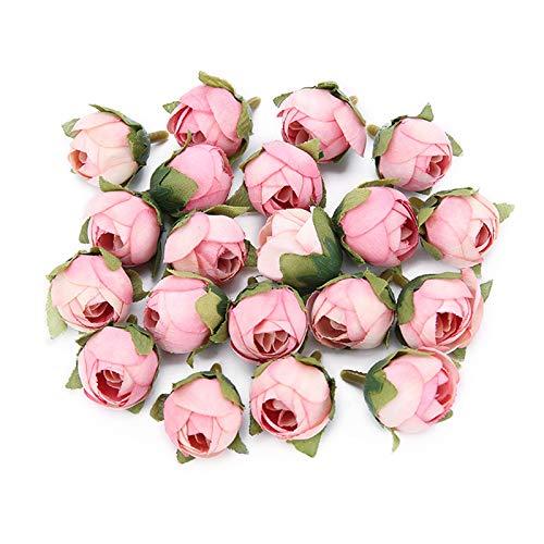 VINFUTUR 100Pcs Artificial Mini Rose Flower Heads Silk Flower Buds for DIY...