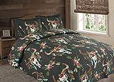 Flowers Floral Steer Skull Skeleton Quilt Rustic Western Bedspread Comforter Bedding - 3 Piece Set (Black, Oversized King)