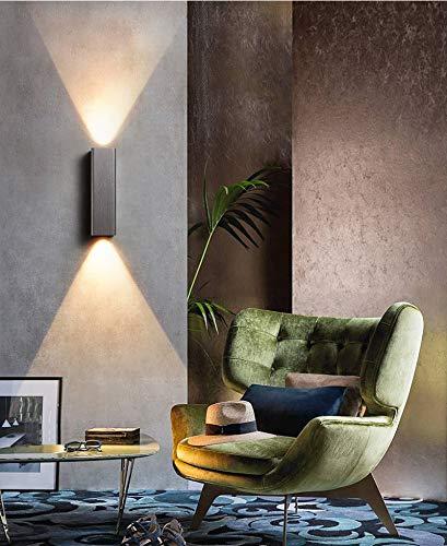 Phube 12W Luz de Pared LED Lámpara de Pared Dormitorio de Aluminio Minimalista Arriba Abajo Aplique de Pared Modernos Accesorios de Iluminación Interior para Cabecera Sala Estar Pasillo Escalera(Gris)