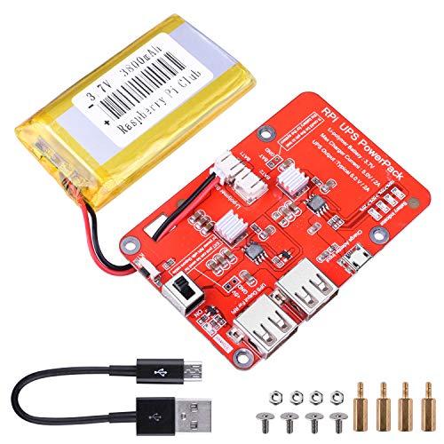 UNIROI Stromversorgung für Lithium Akkupack Erweiterungsplatine mit Schalter + Micro-USB-Kabel für Raspberry Pi 4 Modell B, 3 Modell B, Pi 2 Modell B und Pi 1 Modell B + A + A
