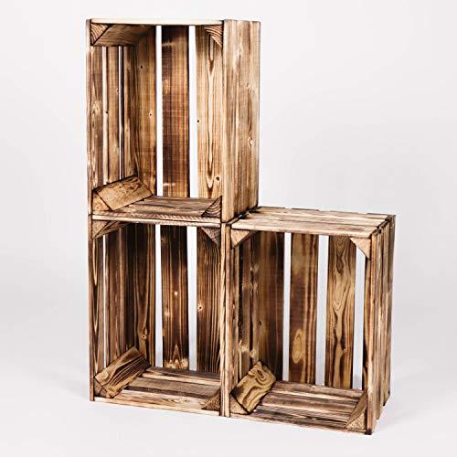 LAUBLUST Vintage Holzkisten 3er Set Geflammt | L - ca. 40 x 30 x 25 cm | Weinkisten & Obstkisten - Möbelkisten & Deko