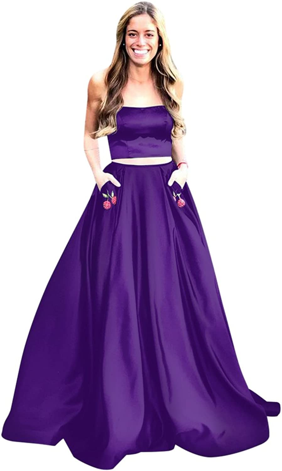 Harsuccting Two Piece Strapless Long Satin Prom Dress with Flower Pockets