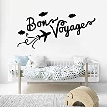 88 * 42cm de familia Wall Decal cita Bon voyage vinilo pegatinas de pared para salon avión Cloud patrón interior Home Decor DIY mural