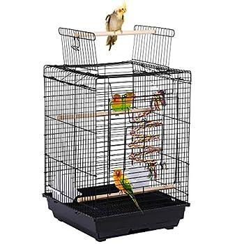 Yaheetech Cage à Oiseaux avec Corde de Jouet 40 x 40 x 58 cm avec Ouverture Supérieure pour Perruche Ondulée Canari Calopsitte élégante Conure de Molina