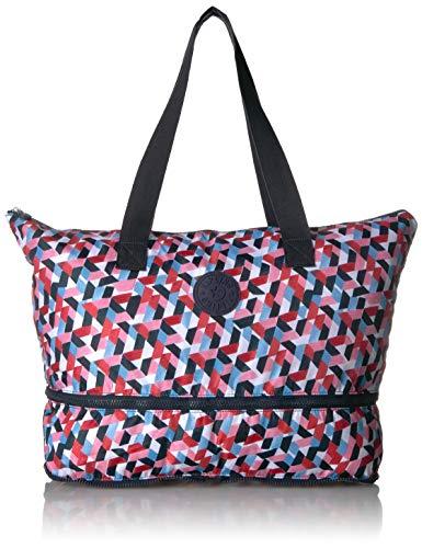 Kipling Women's Imagine Foldable Tote, Packable Travel Bag, Zip Closure, forever tiles pack, One Size