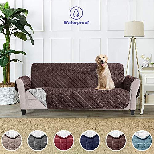 Sofa Cover Sofa Cover Pet Protector Sofa Cover Sofa Cover Waterproof Anti-Dirty Pet Sofa Protector Furniture - (3 squares 279 x 190 cm, Brown)