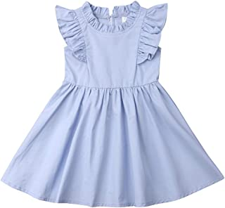 Baby Girl Toddler Ruffle Pleated Dress Cotton Sleeveless A Line Casual Dress Summer for 1-6T