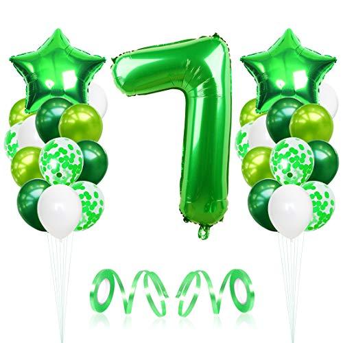7 Globos de Cumpleaños, Globo 7 Año, Globo Numero 7, Decoracion Cumpleaños Niño, Globos Grandes Gigantes Helio Verde, Globos para Fiestas de Cumpleaños