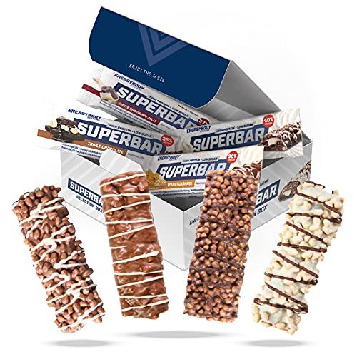 Energybody Superbar Mix Box 12 x 50 g zuckerarme Proteinriegel Eiweißriegel ohne Zucker (fast, nur 2g/Riegel) für Low Carb Ernährung geeignet