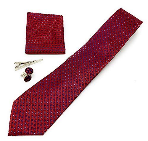 Ducomi Gentleman - Raffinato Cofanetto Coordinato Uomo Composto da Cravatta, Gemelli, Fermacravatta e Fazzoletto da Taschino - Elegante e Classico Regalo (Wealth)